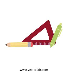 Isolated pencil pen and ruler vector design