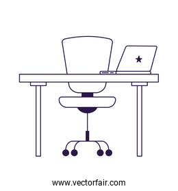 Isolated office chair desk and laptop vector design