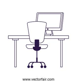 Isolated office chair desk and computer vector design
