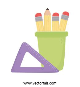 Isolated pencils inside mug and ruler vector design