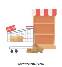 Isolated shopping shelf and cart vector design