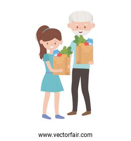 Old man and woman shopping with bags vector design