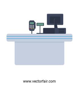 Counter with cash register vector design