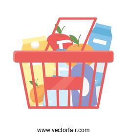 Isolated shopping basket with products vector design