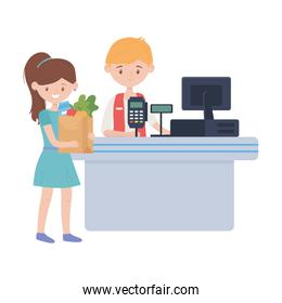 Counter with cash register seller and woman vector design