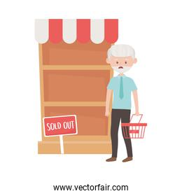Old man shopping with basket shelf and sold out banner vector design