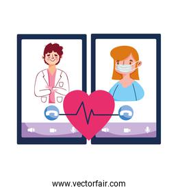 Isolated man doctor woman with mask and smartphone vector design