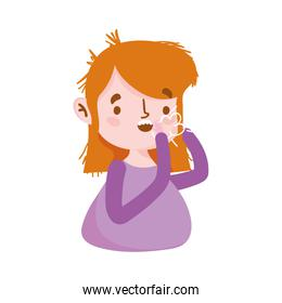 Isolated woman with dry cough vector design