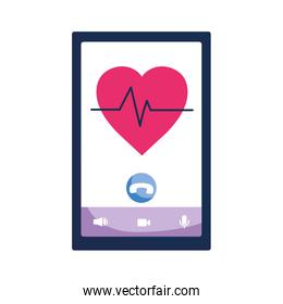 Isolated smartphone with heart vector design