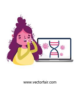 Isolated woman with dry cough and laptop vector design