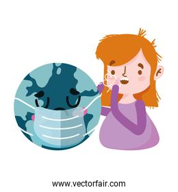 Isolated woman with dry cough and world vector design