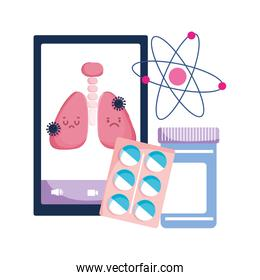 Smartphone lungs and Covid 19 virus vector design