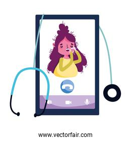 Isolated woman with dry cough and smartphone vector design