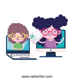 Girls kids with book laptop and computer vector design