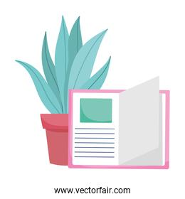 Isolated education book and plant vector design