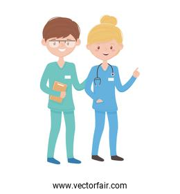 Woman and man doctor with document vector design