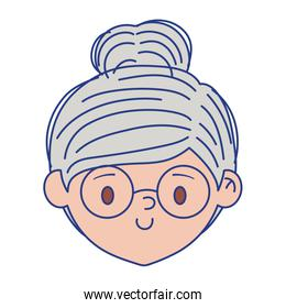 Isolated grandmother head with glasses vector design