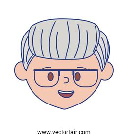 Isolated grandfather head with glasses vector design