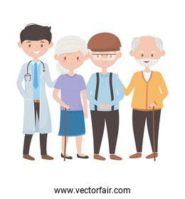 Doctor old woman and men vector design
