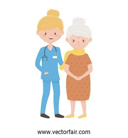 Isolated doctor with old woman vector design