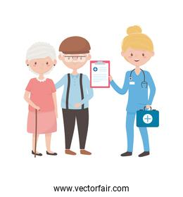 Doctor with old woman man kit and document vector design