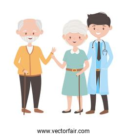 Doctor old woman and man vector design