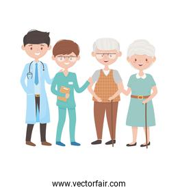Doctors old woman and man vector design