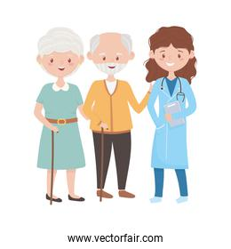 Doctor with old woman and man vector design