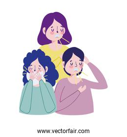 Women and man with dry cough and cold vector design