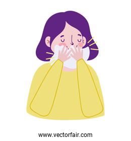 Woman with cold and tissue vector design
