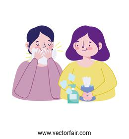 Woman man with cold tissues box and soap bottle vector design