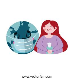 Woman with tissues box and world with mask vector design