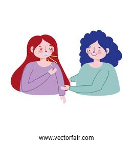 Women with dry cough vector design