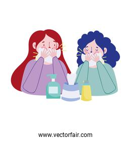 Women with cold tissues box and soap bottles vector design