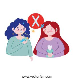 Women with dry cough and tissues box vector design