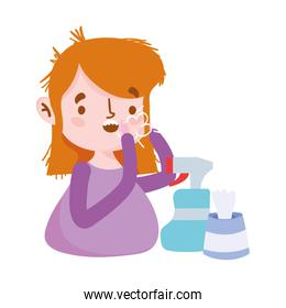 Woman with dry cough spray bottle and tissues box vector design