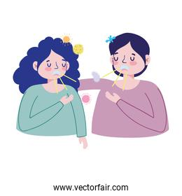 Woman man with dry cough vector design