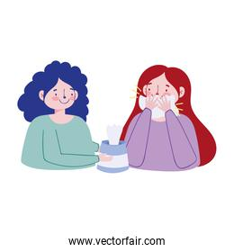 Women with cold and tissues box vector design