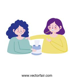 Women with dry cough and tissues box