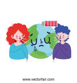 Woman and man with dry cough world and battery vector design
