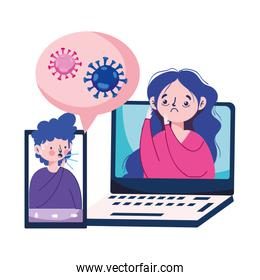 Man and woman with dry cough fatigue laptop and smartphone vector design