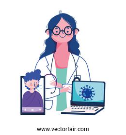 Woman doctor man laptop and smartphone vector design