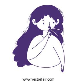 Woman with dry cough vector design