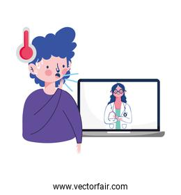 Man with dry cough thermometer woman doctor and laptop vector design