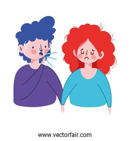 Woman and man with dry cough vector design