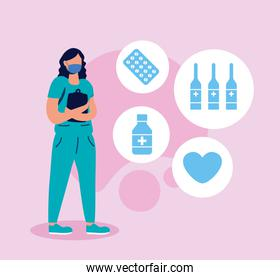 female doctor with face mask and set icons