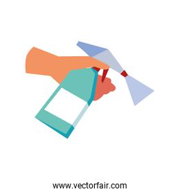 hand with disinfectant bottle on white background
