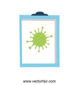 clipboard with coronavirus on white background