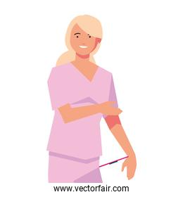 female doctor standing, medical staff on white background