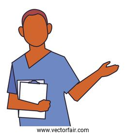 man doctor standing, medical staff, line and fill style icon